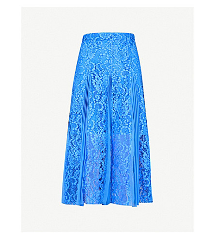 SANDRO Pleated-detail floral lace skirt (Blue