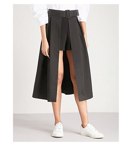 SANDRO Shorts-underlay belted cotton-poplin skirt (Black