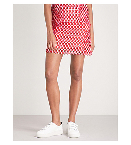 SANDRO Embroidered lace mini skirt (Red