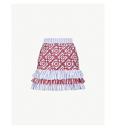 SANDRO Frilled floral-embroidered cotton-blend skirt (Red