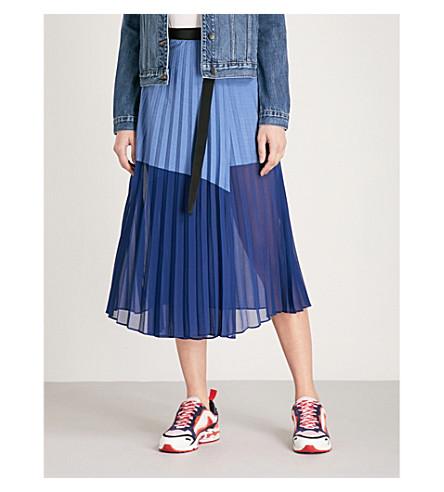 SANDRO Contrast-panel pleated cotton-blend skirt (Blue