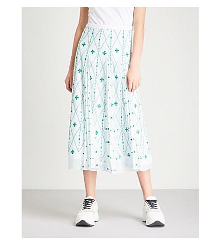 SANDRO Embroidered chiffon midi skirt (Green+++white