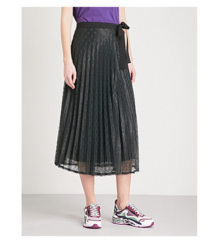 SANDRO Pleated floral lace midi skirt (Black