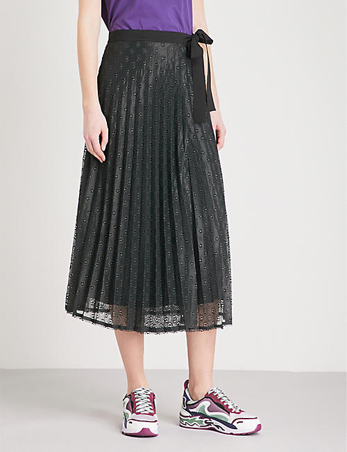 SANDRO Pleated floral lace midi skirt