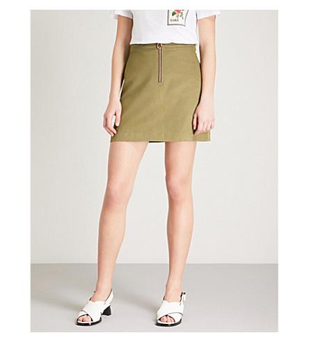 SANDRO A-line woven mini skirt (Khaki+olive