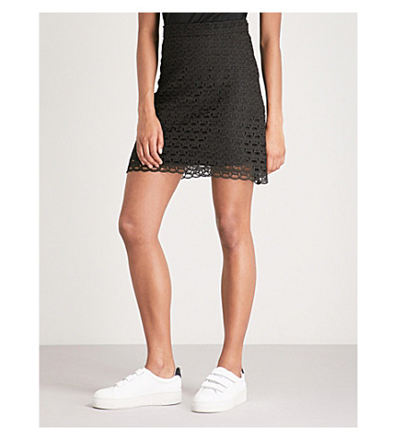SANDRO Embroidered lace mini skirt (Black