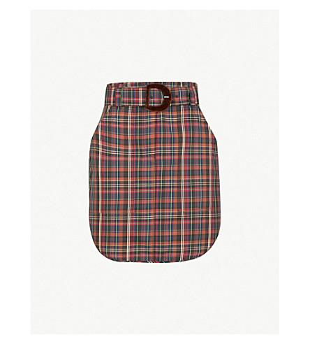 SANDRO Tartan-print woven skirt (Brown