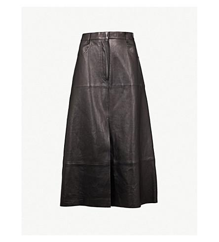 SANDRO A-line leather skirt (Black