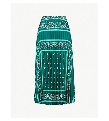 SANDRO 褶边印花缎斜纹迷笛裙 (绿色