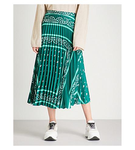 SANDRO Pleated printed satin-twill midi skirt (Green