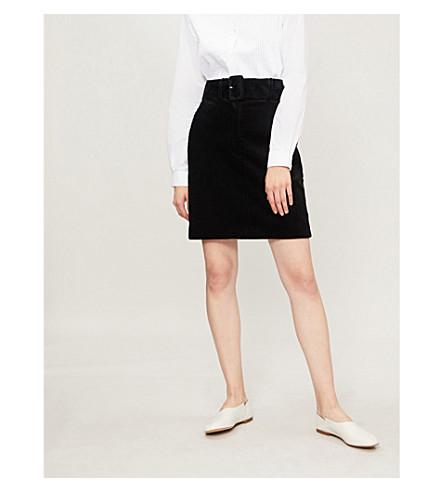 SANDRO Corduroy belted velvet skirt (Noir