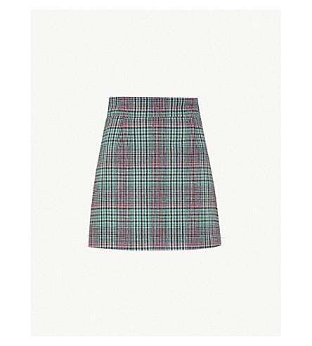 SANDRO 格子花纹检查羊毛混纺迷你裙 (紫红色 + + + 绿色