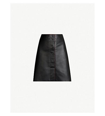 SANDRO A-line mini leather skirt (Black
