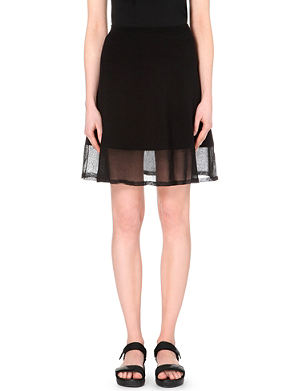 SANDRO A-line cotton-stretch skirt