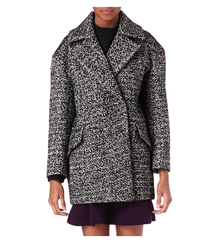 SANDRO Malice tweed coat (Black