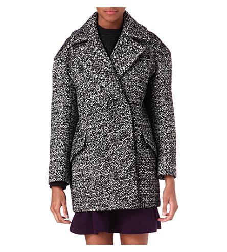 SANDRO Malice tweed coat (Black