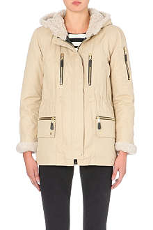 SANDRO Marvin shearling-trim parka coat