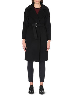SANDRO Malory belted wool-blend coat