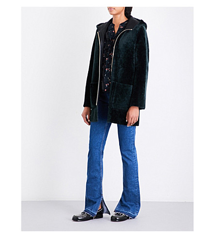 SANDRO Reversible shearling coat (Forest+green