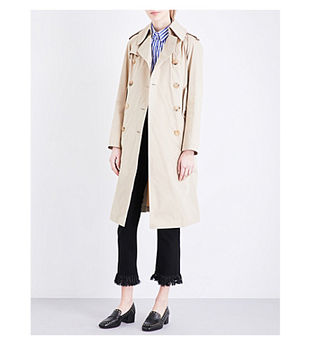 SANDRO Double-breasted cotton-gabardine trench coat (Camel