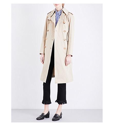 SANDRO Double-breasted cotton-gabardine trench coat (Camel
