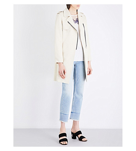 SANDRO Longline cotton-blend coat (Ecru