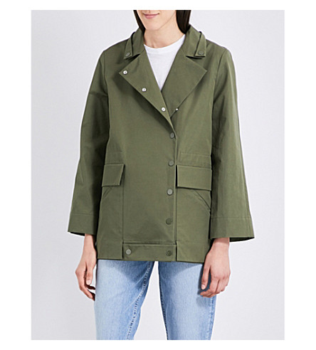 SANDRO Embroidered-detail cotton coat (Olive+green