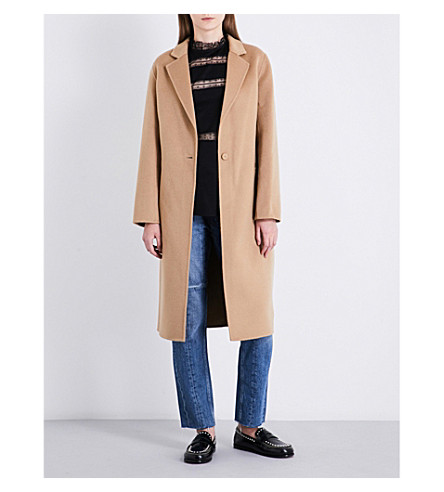 SANDRO Single-breasted wool and cotton-blend coat (Camel
