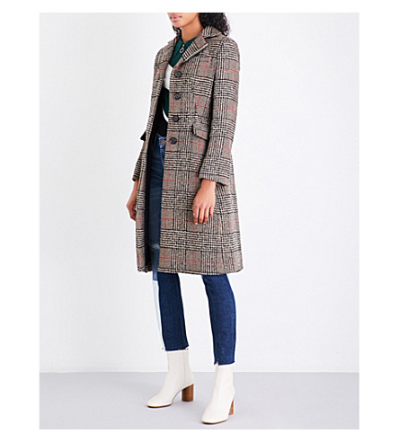 SANDRO Checked wool-blend coat (Multi-color