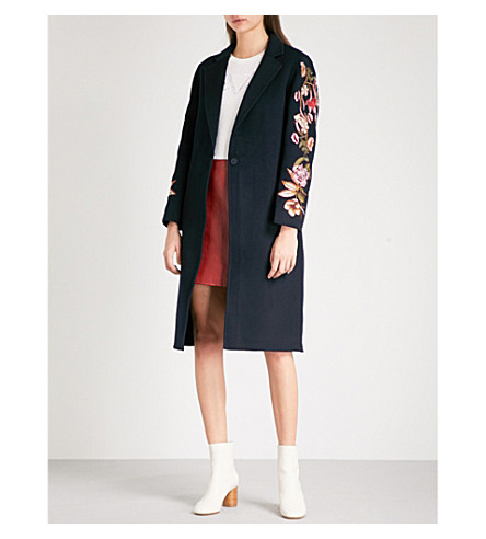 SANDRO Floral-embroidered single-breasted wool-blend coat (Navy+blue