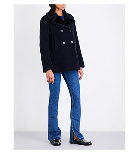 SANDRO Contrast collar wool-blend coat (Navy+blue