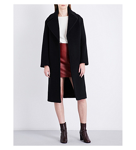 SANDRO Single-breasted wool-blend coat (Black