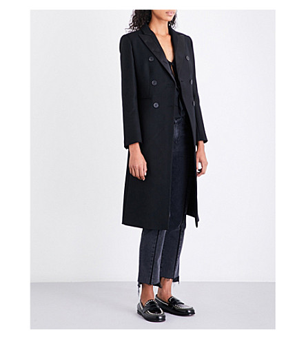 SANDRO Longline wool-blend coat (Black