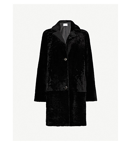 SANDRO Single-breasted shearling coat (Black