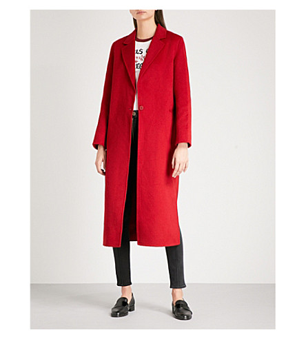 SANDRO Single-breasted brushed wool-blend coat (Garnet
