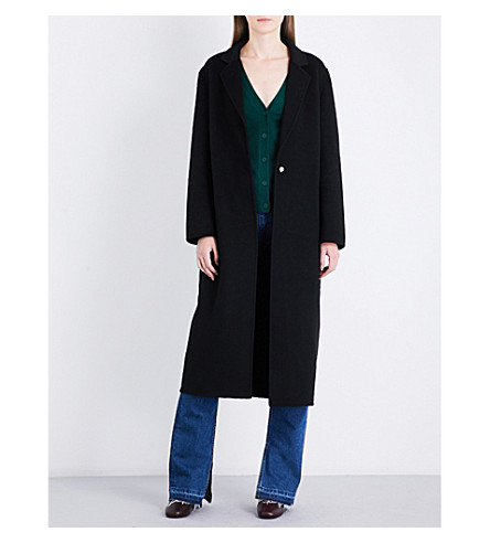 SANDRO Single-breasted wool and cotton-blend coat (Black