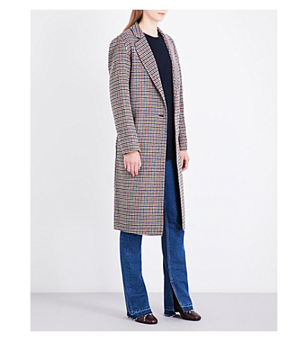 SANDRO Check single-breasted wool coat (Multi-color