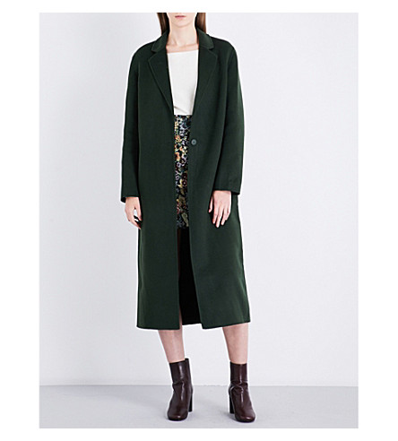 SANDRO Single-breasted wool and cotton-blend coat (Green
