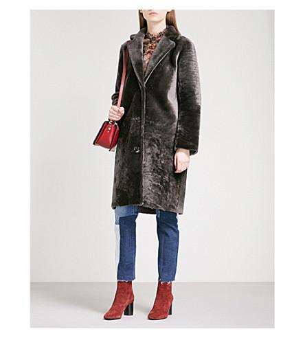 SANDRO Single-breasted shearling coat (Grey