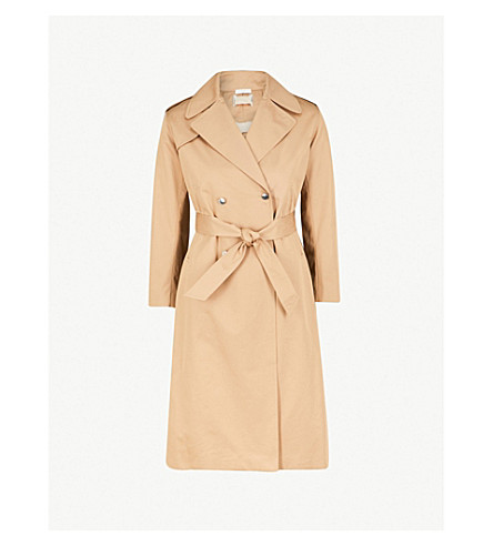SANDRO Double-breasted lace-up detail cotton-twill trench coat (Mastic