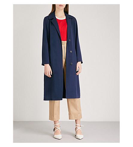 SANDRO Notch-lapel twill coat (Marine