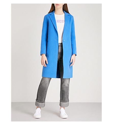 SANDRO Notch-lapel wool coat (Bleu