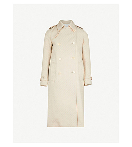 SANDRO Double-breasted contrast-stitch woven coat (Sable