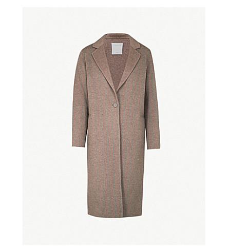 SANDRO 条纹花纹刷羊毛大衣 (骆驼