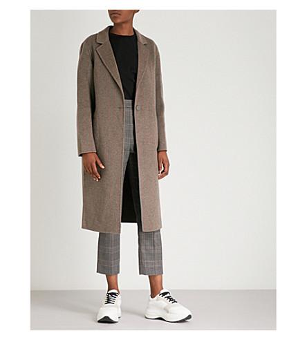 Striped-pattern brushed-wool coat(M9653H)
