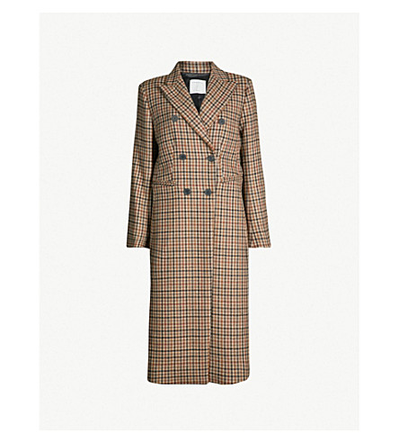 SANDRO Colere checked wool-blend coat (Camel