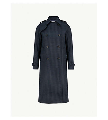 SANDRO Rosale windowpane check woven coat (Deep navy