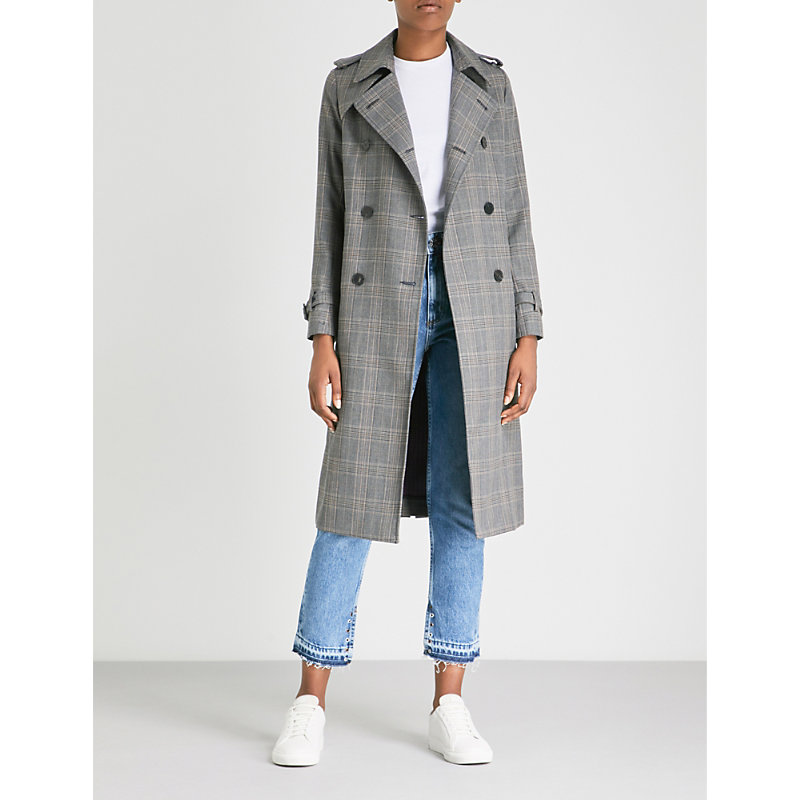 CHECKED-PATTERN WOVEN COAT