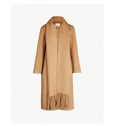 SANDRO 流苏羊毛和棉混纺外套 (骆驼