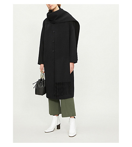 Fringed wool and cotton-blend coat(M9732H)